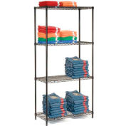 "Nexel Black Epoxy Wire Shelving, 36""W X 24""D X 63""H"