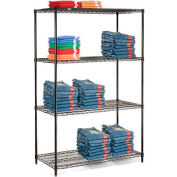 "Nexel Black Epoxy Wire Shelving, 48""W X 24""D X 74""H"