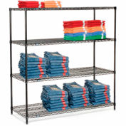 "Nexel Black Epoxy Wire Shelving, 60""W X 24""D X 74""H"