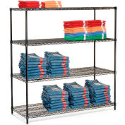 "Nexel Black Epoxy Wire Shelving, 72""W X 24""D X 74""H"