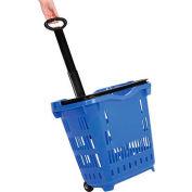 Plastic Roller Shopping Basket Blue - Pkg Qty 10