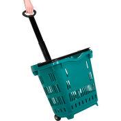 Plastic Roller Shopping Basket Green - Pkg Qty 10