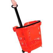 Plastic Roller Shopping Basket Red - Pkg Qty 10