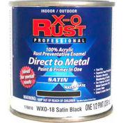 X-O Rust Anti-Rust Enamel, Satin Finish, Satin Black, 1/2-Pint - 176818