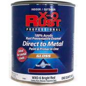 X-O Rust Anti-Rust Enamel, Gloss Finish, Bright Red, Quart - 176831