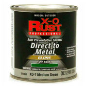X-O Rust Oil Base DTM Enamel, Gloss Finish, Medium Green, 1/2-Pint - 371351