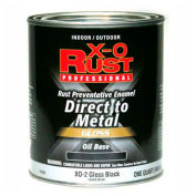 X-O Rust Oil Base DTM Enamel, Gloss Finish, Gloss Black, Quart - 371823