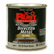 X-O Rust Oil Base DTM Enamel, Gloss Finish, Seal Brown, 1/2-Pint - 380071
