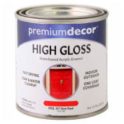 Premium Décor Waterborne Acrylic Enamel, Gloss Finish, Hot Red, 1/2 Pint - 705196
