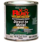 X-O Rust Brush-On Enamel, Gloss Finish, Grass Green, Matches John Deere Green, 1/2-Pint - 776573