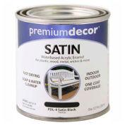 Premium Décor Waterborne Acrylic Enamel, Satin Finish, Black, 1/2 Pint - 796436
