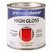 Premium Décor Waterborne Acrylic Enamel, Gloss Finish, Almond, 1/2 Pint - 796562