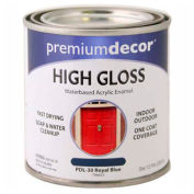 Premium Décor Waterborne Acrylic Enamel, Gloss Finish, Royal Blue, 1/2 Pint - 796653