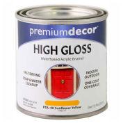 Premium Décor Waterborne Acrylic Enamel, Gloss Finish, Sunflower Yellow, 1/2 Pint - 796717