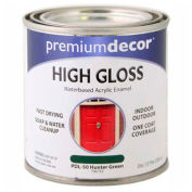 Premium Décor Waterborne Acrylic Enamel, Gloss Finish, Hunter Green, 1/2 Pint - 796752