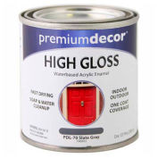 Premium Décor Waterborne Acrylic Enamel, Gloss Finish, Slate Gray, 1/2 Pint - 796893