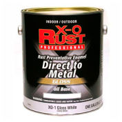 X-O Rust Oil Base DTM Enamel, Gloss Finish, Gloss White, Gallon - 801951