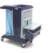 Modular Plastic Cart - Base Unit W/O Front Extension Tray W/ One Flat Mop Bucket, Lid And Support