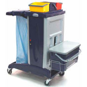 Modular Plastic Cart-Base Unit W/O Front Extension Tray-3 Buckets, 1 Flat Mop Bucket & Lid W/Support