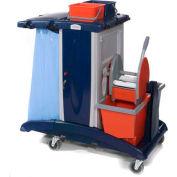 Modular Plastic Cart - Base Unit W/ 3 Top Buckets And Bucket & Wringer Combo