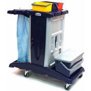 Modular Plastic Cart - Base Unit W/ 3 Top Buckets, 1 Flat Mop Bucket & Lid
