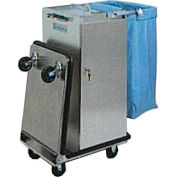 Escort® Stainless Steel Housekeeping Cart W/ Double Bucket Folding Tray and Vacuum Carrier