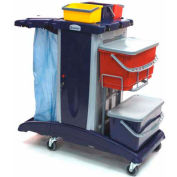 Modular Plastic Cart  - Base Unit W/ 3 Top Buckets, 2 Flat Mop Buckets & Lids and Rilsan Support