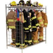 "Ready Rack® Freestanding Gear Storage Rack Locker, Double Sided, Sixteen 18"" Sections, Chrome"