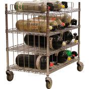 SCBA Mobile Bottle Cart, Four Shelf Levels, Holds 16 Bottles, Chrome