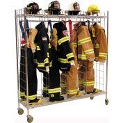 "Ready Rack® Mobile Gear Storage Rack Locker, Single Sided, Four 18"" Sections, Chrome"