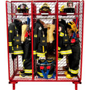 "Red Rack™ Freestanding Gear Storage Locker, Double Sided, Six 24"" Sections w/Security Opt.,Red"
