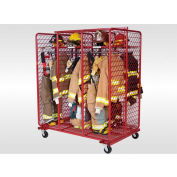 """Red Rack™ Mobile Gear Storage Rack Locker, Double Sided, Six 24"""" Sections, Red"""