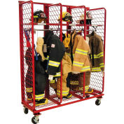 "Red Rack™ Mobile Gear Storage Rack Locker, Single Sided,Three 24"" Sections w/Security Opt.,Red"