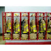 "Red Rack™ Wall Mounted Gear Storage Rack Locker, Single Sided, Ten 18"" Sections, Red"