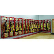 """Red Rack™ Wall Mounted Gear Storage Rack Locker RRWM-5/20 - Five 20"""" Sections, Red"""