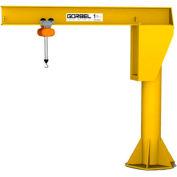 Gorbel® HD Free Standing Jib Crane, 10' Span & 20' Height Under Boom, 1000 Lb Capacity