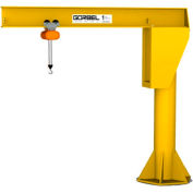 Gorbel® HD Free Standing Jib Crane, 10' Span & 20' Height Under Boom, 2000 Lb Capacity