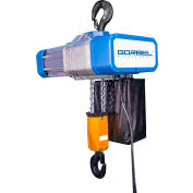 Gorbel® Electric Chain Hoist W/ Chain Container 6000 Lbs Cap Single Speed 20' Lift 460V 3-1/2HP