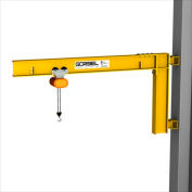 Gorbel® HD Wall Cantilever Jib Crane, 10' Span & 200° Rotation, 500 Lb Capacity