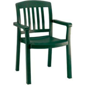 Grosfillex® Atlantic Dining Outdoor Armchair - Amazon Green (Sold in Pk. Qty 12) - Pkg Qty 12