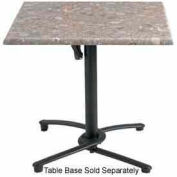 "Grosfillex® 24"" Square Outdoor Table Top Only No Umbrella Hole - Tokyo Stone"