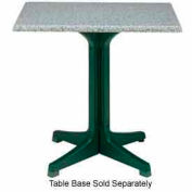 "Grosfillex® 24"" Square Outdoor Table Top Only No Umbrella Hole - Granite Green"