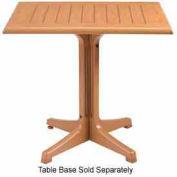 "Grosfillex® 24"" x 32"" Outdoor Table Top Only No Umbrella Hole - Teak Décor"