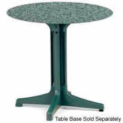 "Grosfillex® 30"" Round Outdoor Table Top Only No Umbrella Hole - Granite Green"