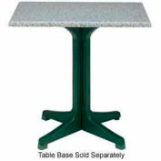 """Grosfillex® 32"""" Square Outdoor Table Top Only with Umbrella Hole - Granite Green"""