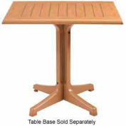 "Grosfillex® 32"" Square Outdoor Table Top Only No Umbrella Hole - Teak Décor"