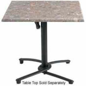 "Grosfillex® 36"" Square Outdoor Table Top Only with Umbrella Hole - Tokyo Stone"