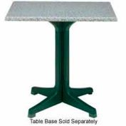 "Grosfillex® 36"" Square Outdoor Table Top Only with Umbrella Hole - Granite Green"