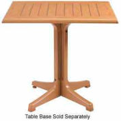 "Grosfillex® 36"" Square Outdoor Table Top Only No Umbrella Hole - Teak Décor"