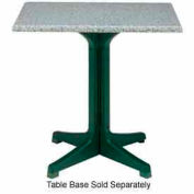 "Grosfillex® 36"" Square Outdoor Table Top Only No Umbrella Hole - Granite Green"